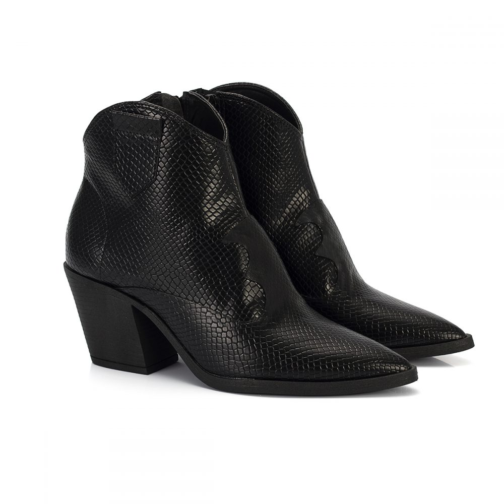 bota country west cobra preto salto baixo bico fino sintetico vegano feminina bota feminina animal print 7