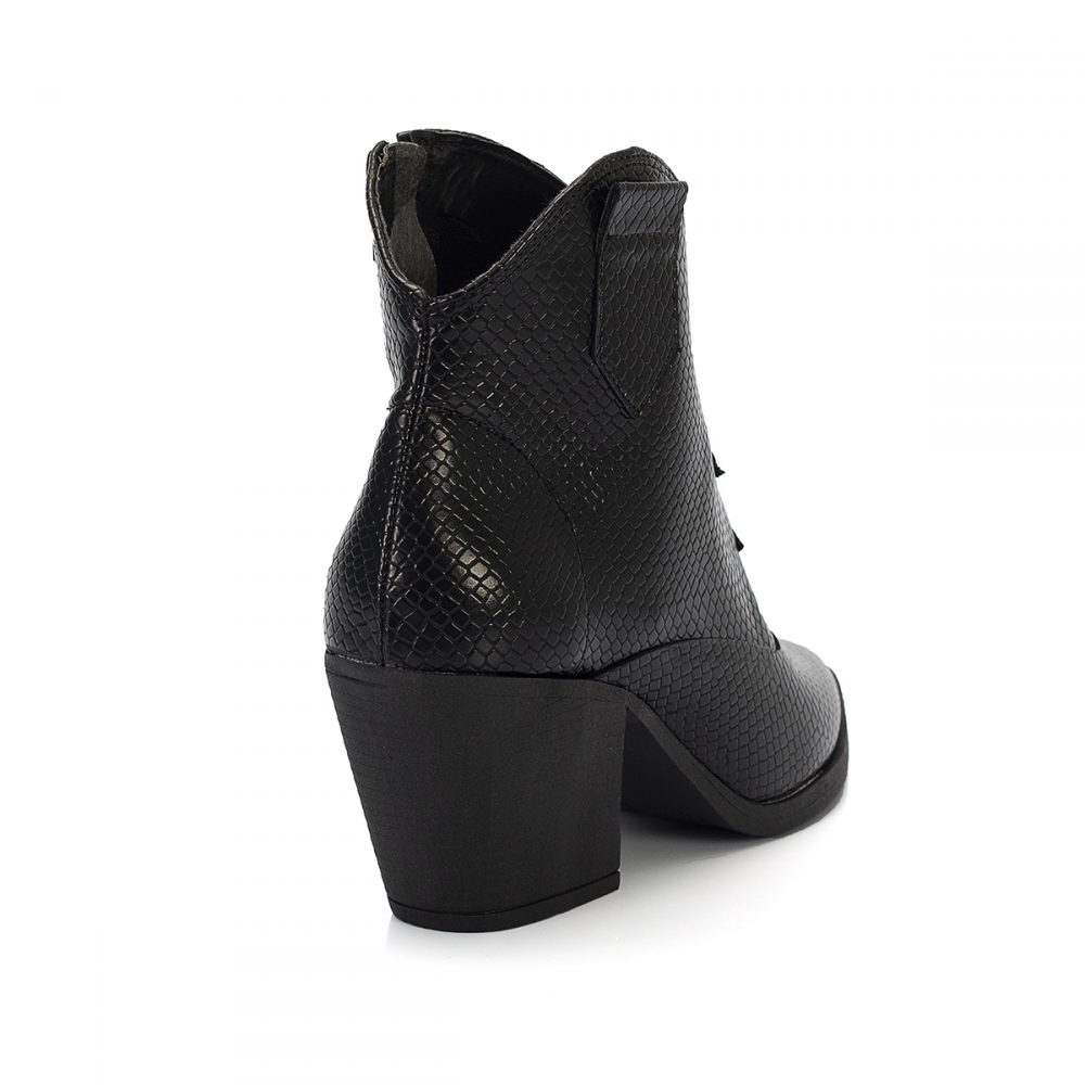 bota country west cobra preto salto baixo bico fino sintetico vegano feminina bota feminina animal print 1