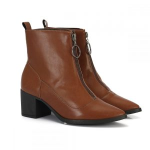 bota feminina, bota cano curto, bota zíper, salto baixo, bota salto baixo, Ankle Boot,Western, bota marrom, (4)