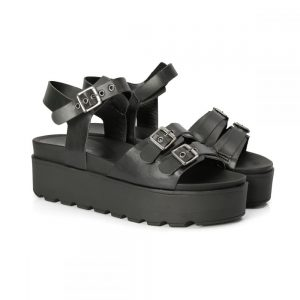sandália tratorada, sandália com fivelas, metal, sandália feminina, sandália flat, sandália alta, verão, tamanco, confortável, pólvora, preto, preta, sandália tiras, blogueira, mod