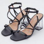 sandalia feminina comprar atacado varejo direto de fabrica amarracao detalhes dourados verao tendencia notme shoes preta loja online