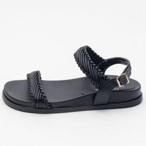 sandalia preta ajustavel mulher tendencia rasteirinha calçados sapato feminino site online notme shoes comprar papete atacado fabrica revendedor